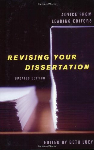 Revising Your Dissertation: Advice From Leading Editors front-939190
