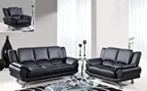 Big Sale Global Furniture Rogers Collection Bonded Leather Matching Sofa, 9908, Black with Chrome Legs