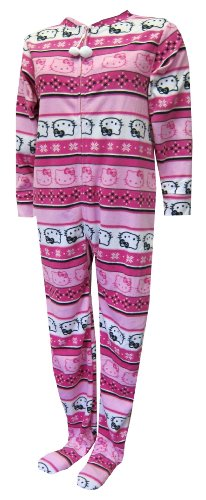 Hello Kitty Pink Nordic Stripes Fleece Gripper Bottom Footie Pajama for women, M