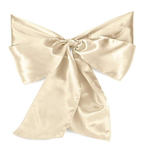Lann's Linens Satin Chair Sashes / Bows - for Wedding or Banquet - Ivory - 10pcs