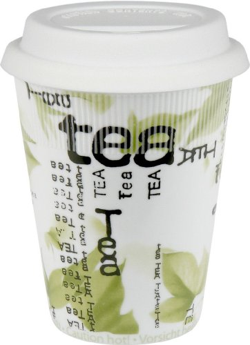 Konitz 9-Ounce Tea Collage Traveler's Mugs with Silicone Lid, Set of 4