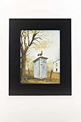 Morning Commute Rooster Outhouse Bathroom Country Billy Jacobs Framed Art Decor 13x16