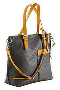 Shiraleah Vegan Leather Chicago Tote (Iron)