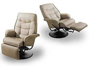 MAN CAVE Two Tan Leatherette Modern Recliners