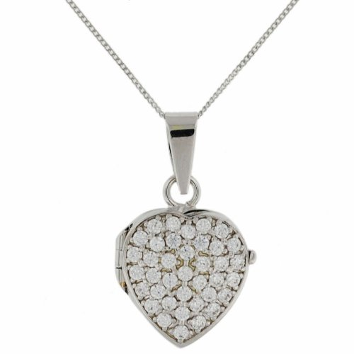 9ct White Gold Cubic Zirconia Heart Locket and Curb Chain Necklace 46cm/18