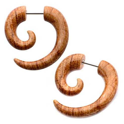 Summer style Light Wood Print earrings fake faux tapers Sold AS PAIR w 49 (Tribal Print Tattoos)