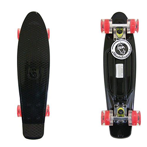 Black Fish Brand Skateboard Plastic Retro Blank Cruiser Silver Trucks Led Wheels