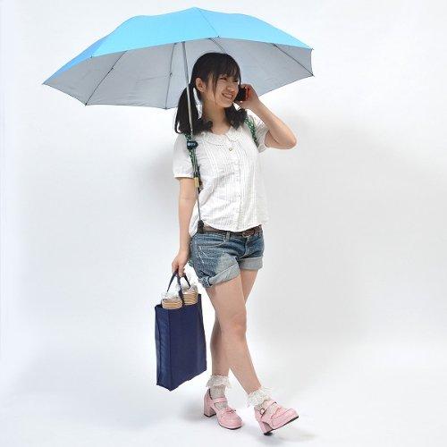 サンコー ハンズフリー伸縮傘(ブルー)  ※簡易日本語説明書付き HDSF23BL