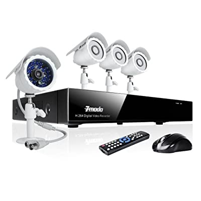 Zmodo 8CH H.264 Video Surveillance Camera System DVR & 4 Outdoor Night Vision Weatherproof Cameras No Hard Drive