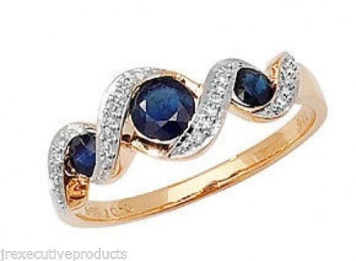 9ct Gold Real Sapphire & Pave Diamond Swirl Ring (available in sizes G - Z )