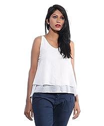 Avakasa Polyester White Solids Partywear Sleeveless Sleeves Top (top-32-white)