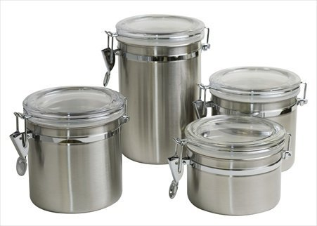 Home Basics CS10067 Canister Set 4 Pieces Stainless