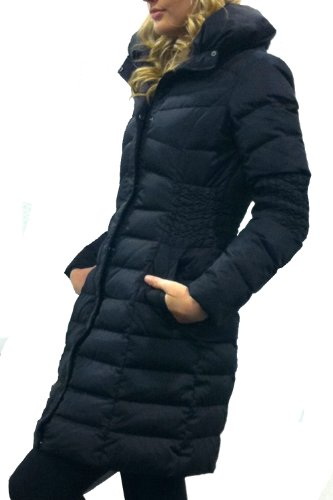 Happy Goat Lucky Erica High Quality Down Coat with Ruched waiste and elbow. Size L, Black.