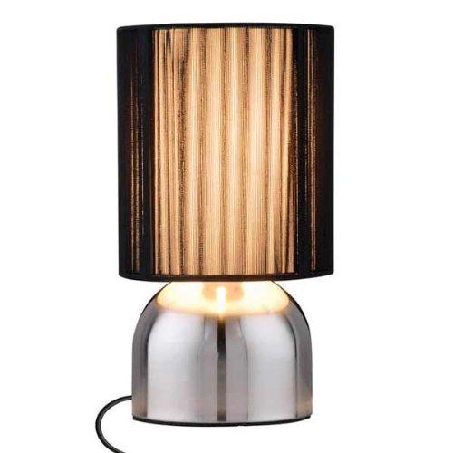 Touch Lampe, Metall glänzend , Edle Tischleuchte, Tischlampe, Nachttischleuchte, Lampe mit Schirm schwarz 25×14 cm, BE-86852