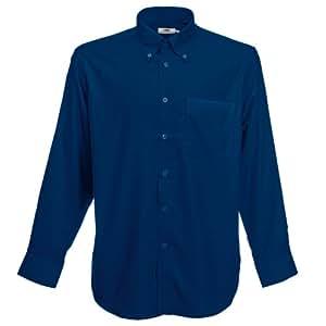 Fruit Of The Loom Oxford Hemd für Männer, langarm (3XL) (Marineblau)