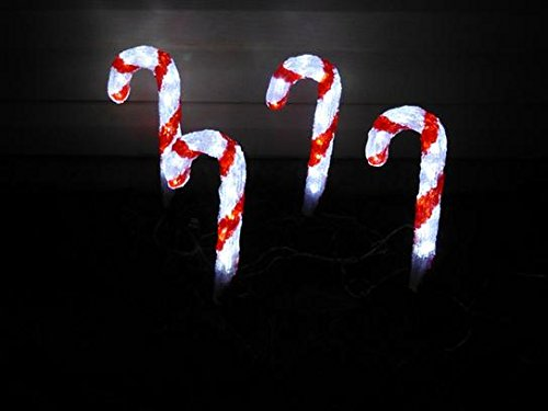 Novolink Hand Crafted 80 LED Decorative Candy Cane, White, Set of 4