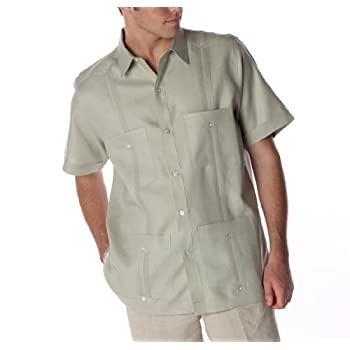 Sage short sleeve Linen Guayabera shirt for men.