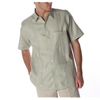 Sage short sleeve Linen Guayabera shirt for men.
