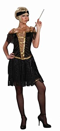 Forum Golden Glamour Flapper Costume Dress, Black/Gold, X-Small/Small