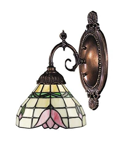 Artistic Lighting Mix-N-Match 1-Light Tiffany LED Wall Sconce, Pink/Bronze