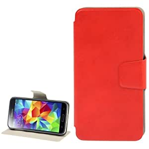 Litchi Texture Horizontal Flip Leather Case with Holder for Samsung Galaxy S5 G900 in Red