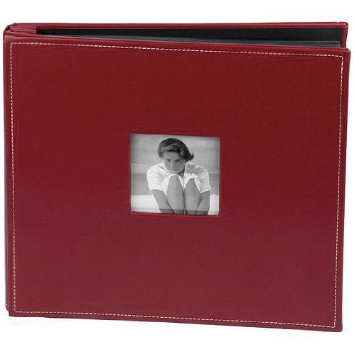Making Memories Leather Postbound Album with Window 12-Inch by 12-Inch, Red Apple