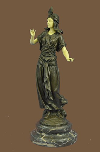 "Handmade European Bronze Sculpture 15""x6""... 10 LBS ...Art Deco And Faux Bone Turkish Princess Brown Marble Base Decor (1XB-XQ-029) statue statues figurine figurines nude décor sculptures c"