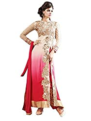Awesome Fab Cream And Pink Georgette Unstitched Printed Dress Material