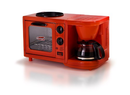 Elite Cuisine EBK-200R Maxi-Matic 3-in-1 Multifunction Breakfast Center, Red (Small Microwave Oven For Dorm compare prices)