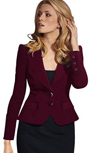 BELLA-Giacca Donna con Bottone di Poliestere Suit Giacca OL Abbigliamento Donna Bordeaux Busto 91cm