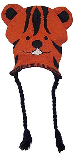 Gold Medal Little Kids Tight Knit Animal Ear Flap Hat (One Size) - Tiger