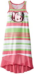 Hello Kitty Big Girls' Striped Maxi Dress with Sequin Applique
