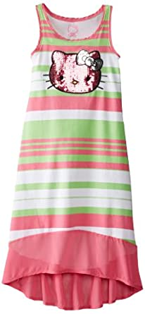 Hello Kitty Big Girls' Striped Maxi Dress with Sequin Applique, Carmine Rose, 7