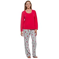 Womens Winter Fleece Lounge Pajama Set-Snowman