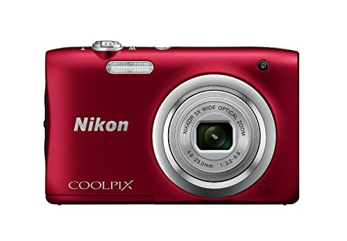 Nikon Coolpix A100 Point and Shoot Digital Camera (Red) with 8GB Memory Card and Camera Case  available at amazon for Rs.5805