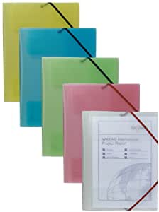 Snopake 12639 A4 Filelastic Folder - Assorted Clear Colours (Pack of 5)