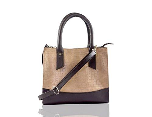 Beau Design Cobra Print Off-white&brown Color Handbag