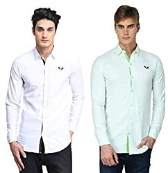 BRAVEZI Men's White & Light Green Solid Casual Slim Fit Shirt
