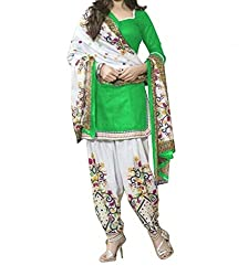 Vedant Vastram Woman's Poly Cotton Printed Unstitched Dress Material (Green & White Colour)