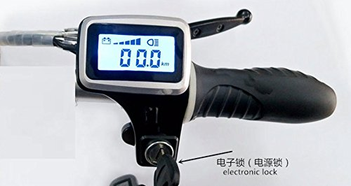 Twist throttle grips with led display screen and lock & key switch accelerator gas handle for electric bike scooter moped trike (48v with lock) (Drift Trike Motor Kit compare prices)