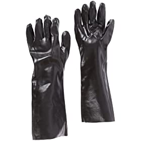 "West Chester 12018 PVC Coated Interlock Lined Glove, Work, Gauntlet Cuff, 17-1/4"" Length, Large, Black (Pack of 1 Pair)"