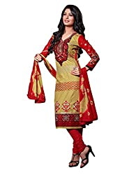 Varanga Beige Embroidered Dress Material with Matching Dupatta KFCRI3605