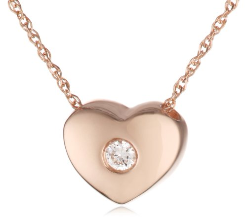 "Kc Designs ""Peace And Love"" 14K Rose Gold And Diamond (.04 Ct) Heart Pendant Necklace, 16"""
