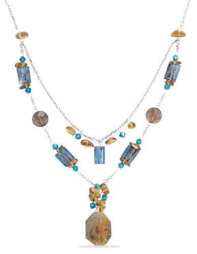 Double Strand Drop Necklace with Smoky Quartz, Turquoise Colored Crystals & Kyanite