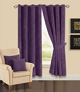 "65"" x 90"" Elin Aubergine / Purple / Plum Luxury Heavy Thermal Backed Faux Fur Chenille Spot Readymade Ring Top/Eyelet Curtains"