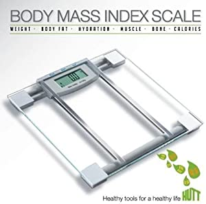 "HUTT Products SlimFit 6 in 1 Premium BMI Glass Scale w/ ""Step-On"" Technology Large LCD 330 lb Capacity 4 Point Pressure System Memory Bank"