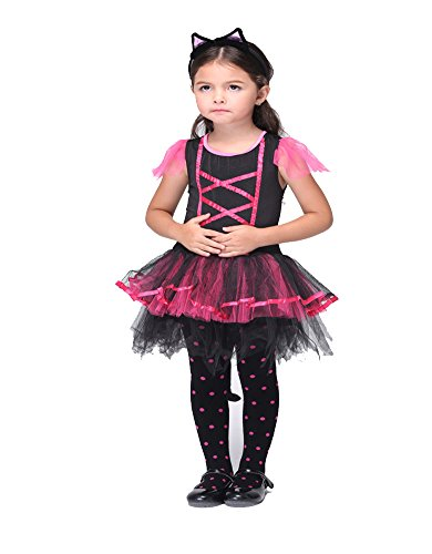 Columbustore Girls Catwoman Halloween Costume Kids Animal Fairy Dress Up
