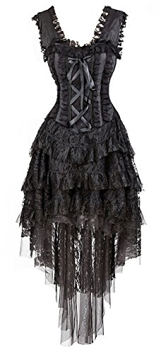 Kimring Women's Vintage Saloon Girl Corset Dress Halloween Cancan Dancer Showgirl Moulin Rouge Costume Black XX-Large