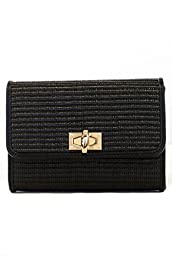 lcolette Bamboo Straw Clutch Bag With Metal Strap hd2011 (BLACK)
