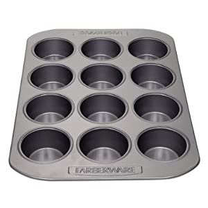2 X Farberware Nonstick Bakeware 12-Cup Muffin Pan, Gray